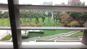 Một góc sân trường nhìn từ thư viện